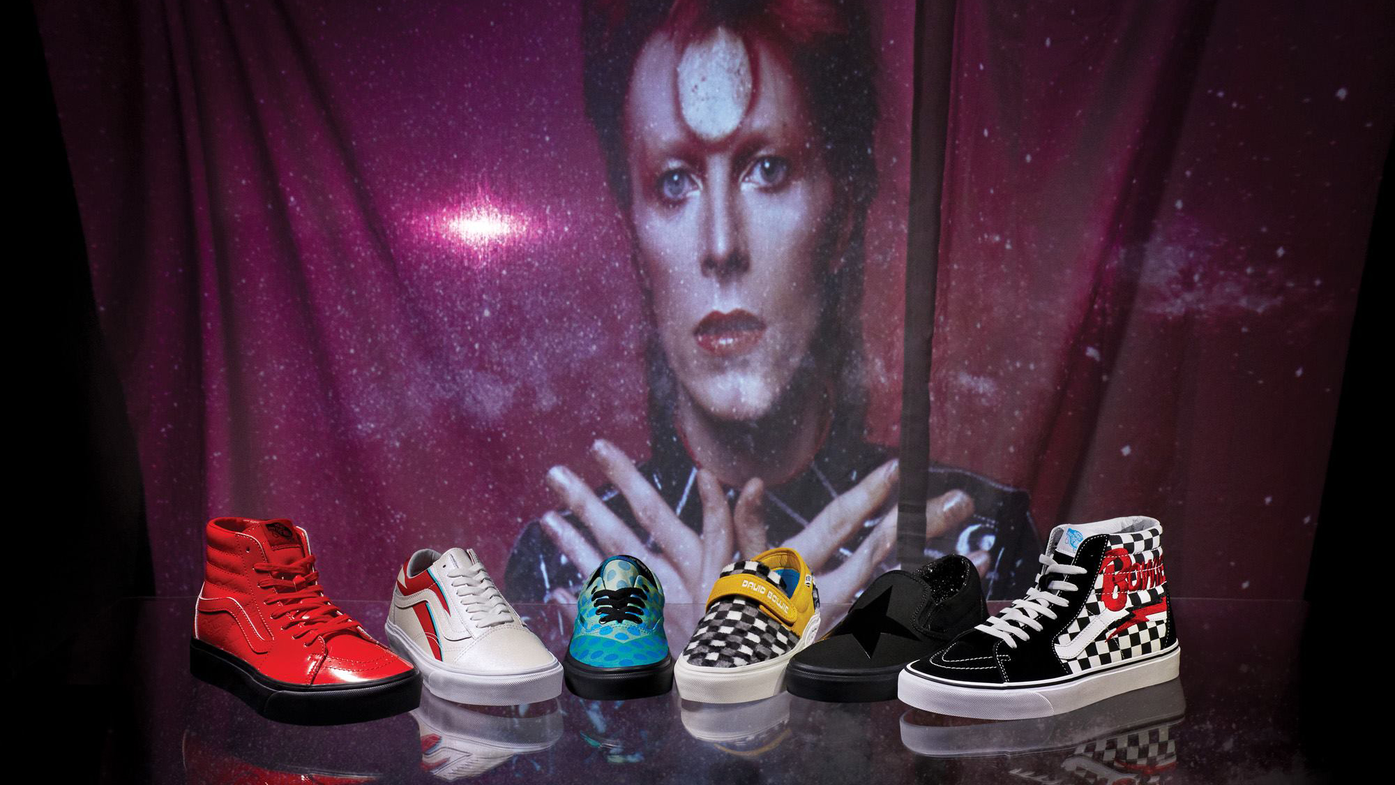 86ff7df347 Vans releases new collection inspired by David Bowie. Published 5th April  2019. Skatewear brand Vans has launched a footwear and clothing ...