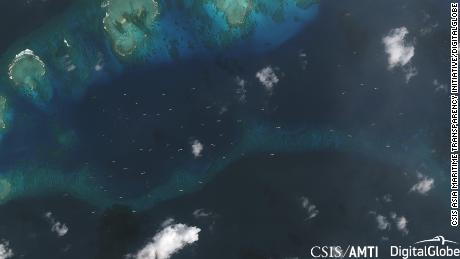 A satellite photo from December 20, 2018, showing the fleet of Chinese ships in the area around Thitu Island