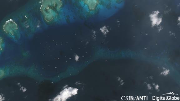 A satellite photo from December 20, 2018, showing the fleet of Chinese ships in the area around Thitu Island.