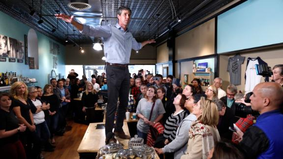 O'Rourke speaks to residents of Burlington, Iowa, during a meet-and-greet event at the Beancounter Coffeehouse & Drinkery in March 2019. O'Rourke announced that day that he would be running for president.