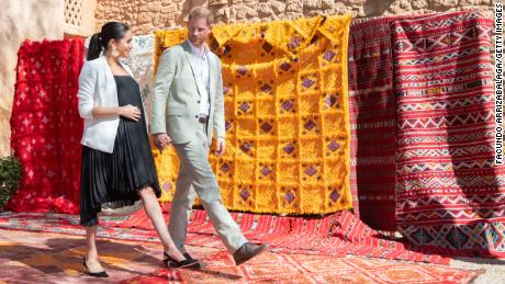 FEBRUARY 25:  Prince Harry, Duke of Sussex and Meghan, Duchess of Sussex walk through the walled public Andalusian Gardens which has exotic plants, flowers and fruit trees during a visit on February 25, 2019 in Rabat, Morocco.