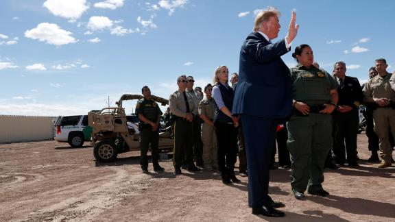 President Donald Trump speaks as he visits a new section of the border wall with Mexico in Calexico, Calif., Friday April 5, 2019. (AP Photo/Jacquelyn Martin)
