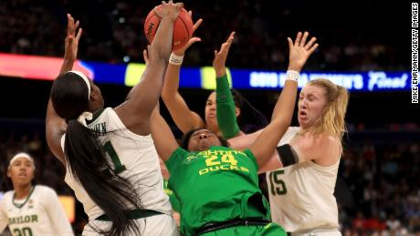 Baylor's defense, including this block by Kalani Brown on Ruthy Hebard, has the Bears in the championship game.