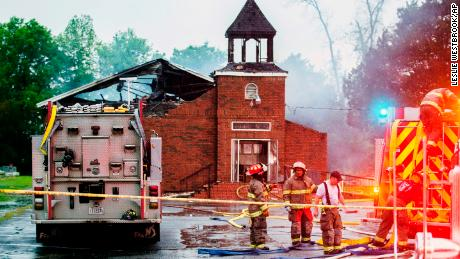 Firefighters respond to a fire at Mount Pleasant Baptist Church on April 4 in Opelousas, Louisiana.