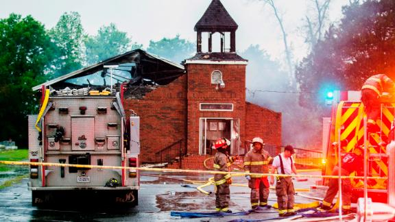 "Firefighters and fire investigators respond to a fire at Mt. Pleasant Baptist Church Thursday, April 4, 2019, in Opelousas, La. Authorities in southern Louisiana are investigating a string of ""suspicious"" fires at three African American churches in recent days. Fire Marshal H. ""Butch"" Browning said it wasn"