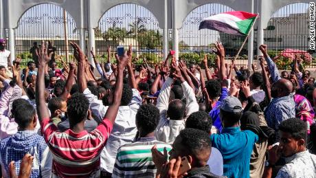 Sudanese protesters in front of the military headquarters in the capital Khartoum on April 6.