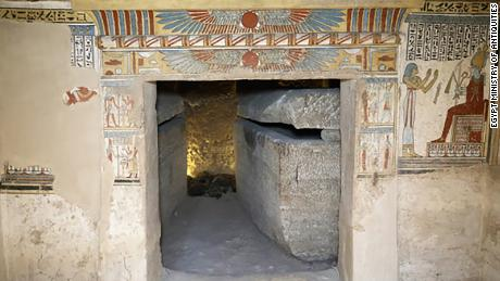 The tomb is made of two rooms covered in colored pictures and inscriptions.