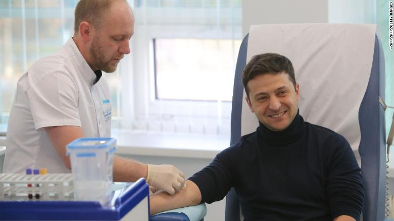 Zelensky undergoes his test at a private clinic.