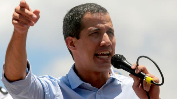 CARACAS, VENEZUELA - APRIL 06: Venezuelan opposition leader Juan Guaido attends a rally with supporters on April 6, 2019 in Caracas, Venezuela. Venezuelan opposition leader Juan Guaido, recognized by many members of the international community as the country