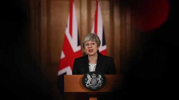 British Prime Minister Theresa May addresses the nation after asking the EU for a Brexit extension on March 20.