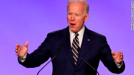 Former Vice President Joe Biden speaks at the International Brotherhood of Electrical Workers construction and maintenance conference in Washington, Friday, April 5, 2019.