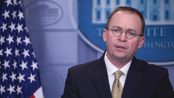 Office of Management and Budget Director Mick Mulvaney speaks to press during a briefing on the government shutdown, in the James S. Brady Press Briefing Room of the White House in Washington, D.C., on Saturday, January 20, 2018.