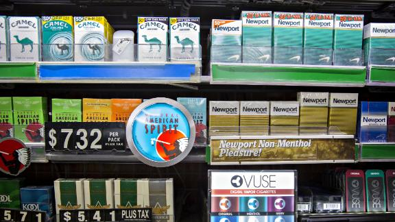 Reynolds American Inc. tobacco products sit on display for sale at a gas station in Princeton, Illinois, U.S., on Tuesday, May 2, 2017. Reynolds American is scheduled to release earnings figures on May 3. Photographer: Daniel Acker/Bloomberg via Getty Images