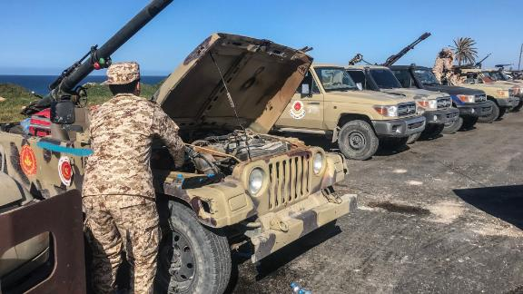Forces loyal to Libya's UN-backed unity government arrive in Tajura, a coastal suburb of the Libyan capital Tripoli, on April 6, 2019, from their base in Misrata. - Anti-government forces led by Libyan strongman Khalifa Haftar said Saturday they had been targeted by an air strike about 50 kilometres (30 miles) south of Tripoli. (Photo by Mahmud TURKIA / AFP)        (Photo credit should read MAHMUD TURKIA/AFP/Getty Images)