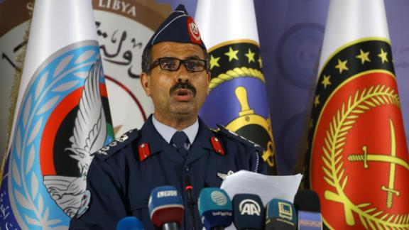 A spokesman for the Libyan forces of the Government of National Accord (GNA) holds a press conference in Tripoli on April 7.