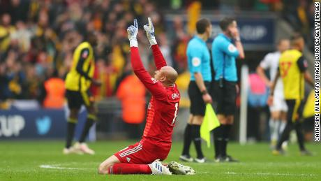 Watford keeper Heurelho Gomes celebrates after Watford's win over Wolves on Sunday.
