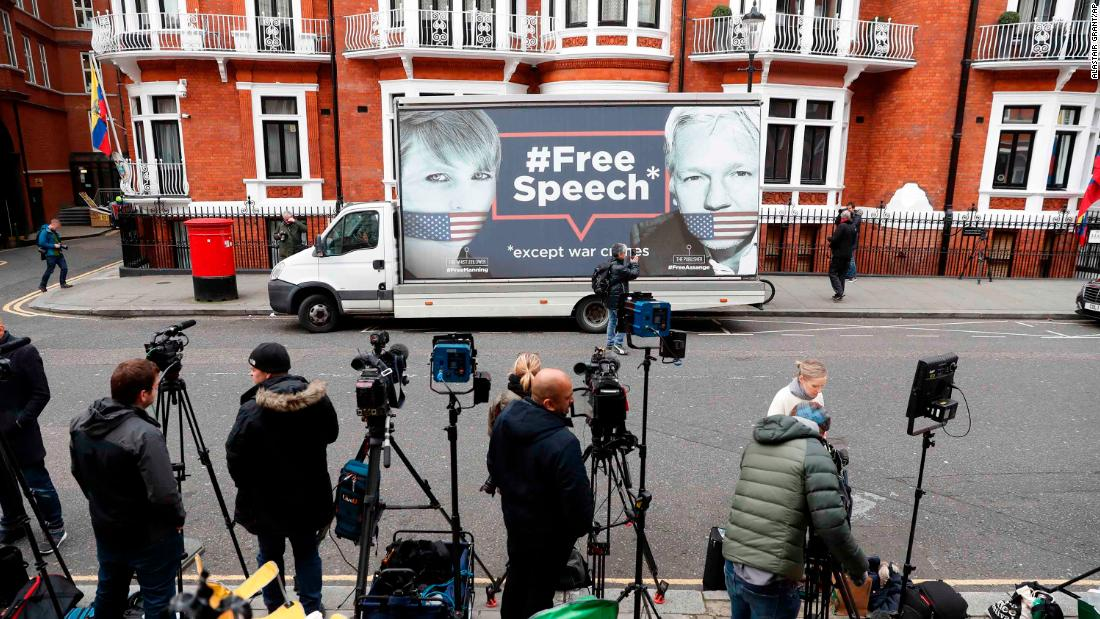 "A van displays images of Assange and Chelsea Manning, the former Army intelligence analyst who supplied thousands of classified documents to WikiLeaks, outside the Ecuadorian Embassy in London on Friday, April 5. A senior Ecuadorian official said no decision has been made to expel Assange from the embassy. According to WikiLeaks tweets, sources had told the organization that Assange could be kicked out of the embassy within ""hours to days."""