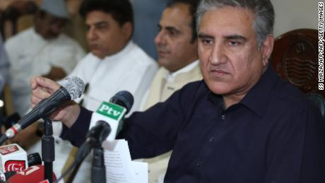 Pakistan's Foreign Minister Shah Mehmood Qureshi holds a press conference in Multan on Sunday