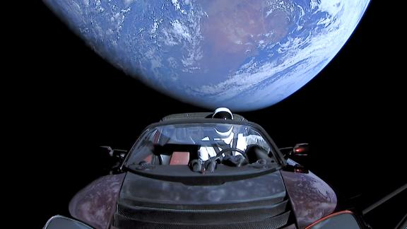 Elon Musk's Tesla roadster launched from the Falcon Heavy rocket in February 2018 with a dummy driver named Starman.