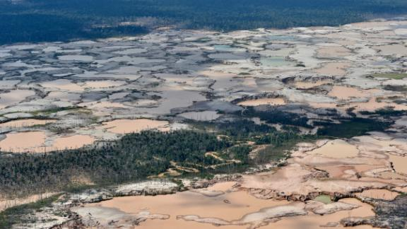 A chemically deforested area of the Amazon caused by illegal mining in southeast Peru,  February 2019.