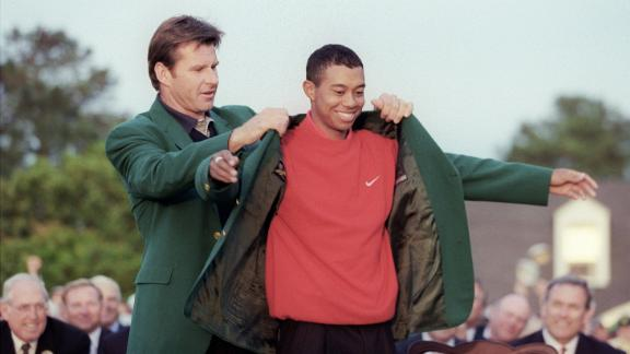 Tiger Woods' 1997 win for the first of 14 majors so far made him the youngest Masters champion at the age of 21.