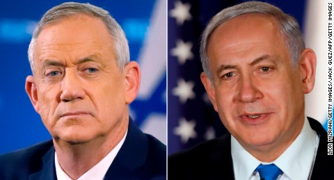 Left: Retired Israeli general Benny Gantz;  RIGHT: Israeli Prime Minister Benjamin Netanyahu