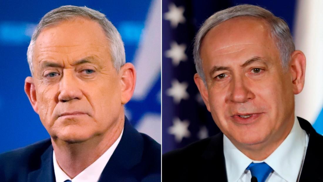 Left: Retired Israeli general Benny Gantz;  RIGHT: Israeli Prime Minister Benjamin Netanyahu