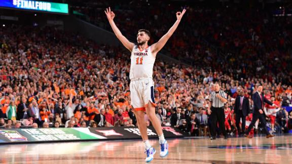 Jerome reacts after hitting a 3-pointer to end the first half. Virginia led 32-29 at the half.