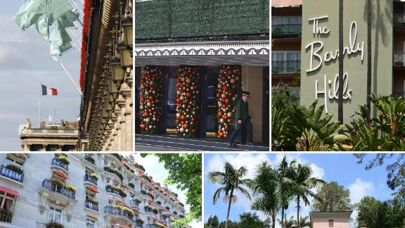 A combination of pictures created in London on March 31, 2019, shows the facades of five of the nine Dorchester Collection hotels owned by Brunei: (top left to right) Hotel Meurice in Paris, The Dorchester in London, The Beverly Hills Hotel in Los Angeles, (bottom left to right) The Hotel Plaza Athenee in Paris and The Hotel Bel-Air in Los Angeles.