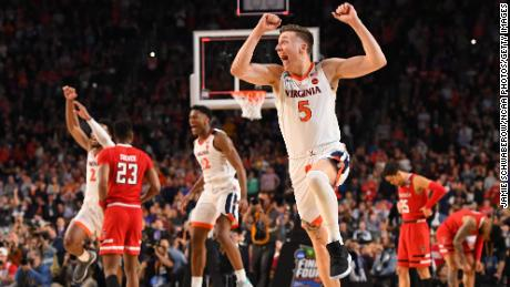 MINNEAPOLIS, MINNESOTA - APRIL 08: Kyle Guy #5 of the Virginia Cavaliers celebrates against the Texas Tech Red Raiders in the 2019 NCAA men's Final Four National Championship game at U.S. Bank Stadium on April 08, 2019 in Minneapolis, Minnesota. (Photo by Jamie Schwaberow/NCAA Photos via Getty Images)