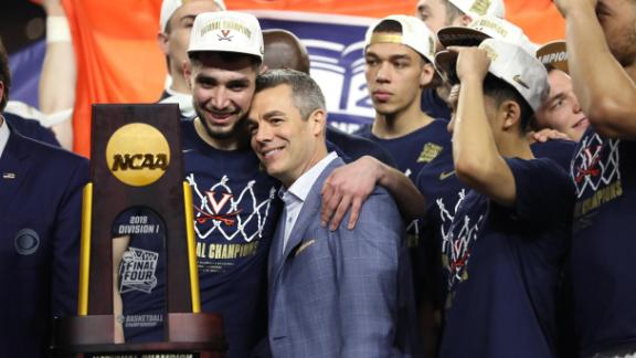 Ty Jerome #11 and head coach Tony Bennett of the Virginia Cavaliers celebrate their teams 85-77 win over the Texas Tech Red Raiders to win the the 2019 NCAA men's Final Four National Championship game at U.S. Bank Stadium on April 08, 2019 in Minneapolis, Minnesota.
