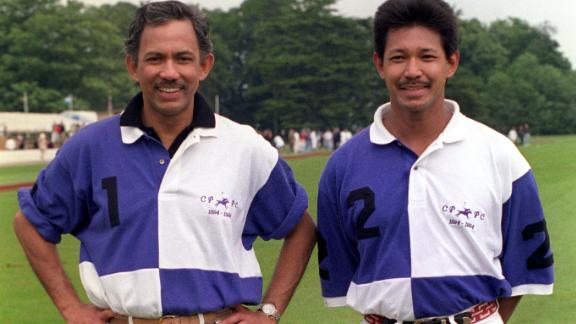 The sultan of Brunei (left) with his brother Prince Jefri Bolkiah, pictured together after a polo match.