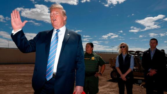 President Donald Trump visits a new section of the border wall with Mexico in Calexico, Calif., Friday April 5, 2019. (AP Photo/Jacquelyn Martin)