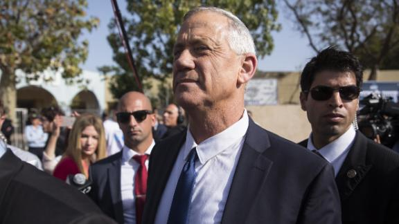 ROSH HA'AYIN, ISRAEL - APRIL 09:  Benny Gantz, Blue and White leader leaves a polling station in Rosh Ha'ayin after casting his vote for the parliamentary election on April 9, 2019 in Rosh Ha'ayin, Israel.  (Photo by Amir Levy/Getty Images)