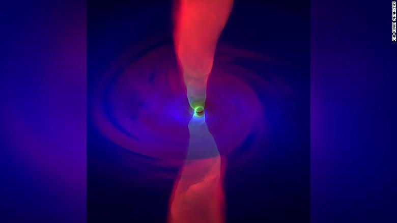 The EHT project released this simulation image showing the accretion flow around Sagittarius A