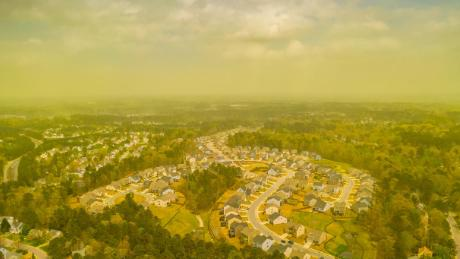 Photographer and storm chaser Jeremy Gilchrist captured aerial images of a pollen cloud hovering over Durham, North Carolina.