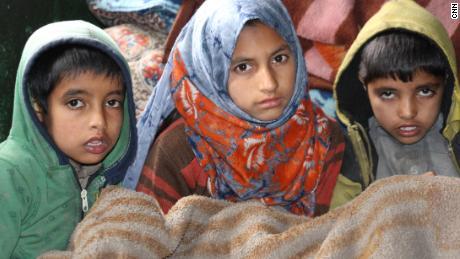 Babur Ali's children now live in makeshift shelters near Srinagar.