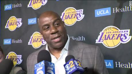 50c5d9f84 Magic Johnson steps down as Lakers president of basketball operations on  Tuesday