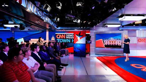 Gillibrand addresses a crowd in Washington during her CNN town hall in April 2019.