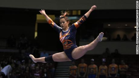 Auburn Tigers gymnast Samantha Cerio performs on the balance beam at the Elevate the Stage Meet between the Tigers and the Alabama Crimson Tide.