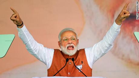 Indian Prime Minister Narendra Modi addresses an election campaign rally in Meerut, India, Thursday, March 28, 2019. India's general elections will be held in seven phases starting April 11. (AP Photo/Altaf Qadri)