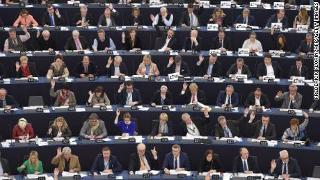 Members of the European Parliament take part in a session in Strasbourg in 2018.
