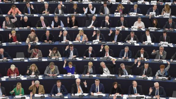 TOPSHOT - Members of the European Parliament take part in a voting session at the European Parliament on March 14, 2018 in Strasbourg, eastern France.    / AFP PHOTO / FREDERICK FLORIN        (Photo credit should read FREDERICK FLORIN/AFP/Getty Images)