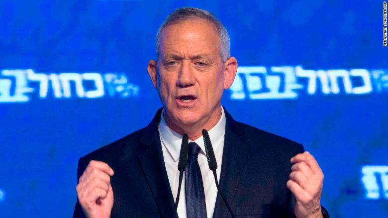 Blue and White party leader Benny Gantz addresses his supporters after Israeli general elections polls closed.