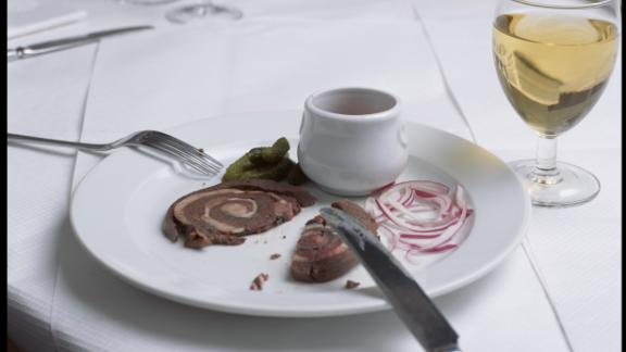 St. John's rolled pig spleen cooked with sage and bacon.