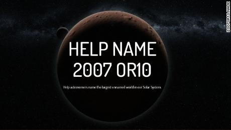 More than 10 years since its discovery, 2007 OR10 is the largest known minor planet in our solar system that has no name. The three astronomers who discovered it want the public's help to change that.