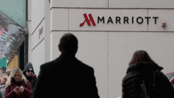 CHICAGO, IL - NOVEMBER 30:  A sign marks the location of a Marriott hotel on November 30, 2018 in Chicago, Illinois.