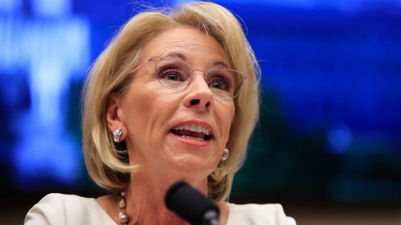 Education Secretary Betsy DeVos testifies before the House Education and Labor Committee at a hearing on 'Examining the Policies and Priorities of the U.S. Department of Education' on Capitol Hill in Washington, Wednesday, April 10, 2019.