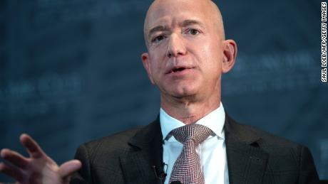 Jeff Bezos, founder and CEO of Amazon, speaks during the Economic Club of Washington's Milestone Celebration event in Washington, DC, on September 13, 2018.