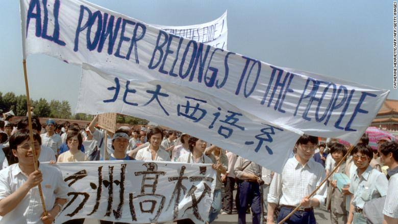 Students protesting in Beijing in the spring of 1989